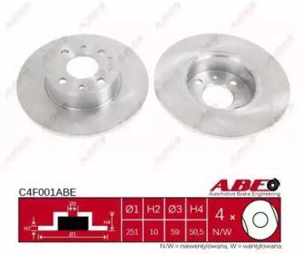 Тормозной диск на FIAT LINEA 'ABE C4F001ABE'.