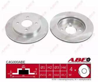 Вентилируемый тормозной диск на Форд Скорпио 'ABE C4G000ABE'.