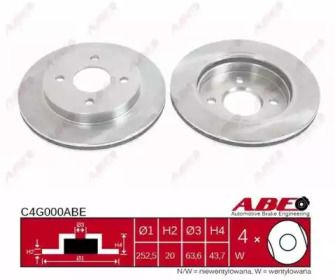 Вентилируемый тормозной диск на Форд Кугар ABE C4G000ABE.