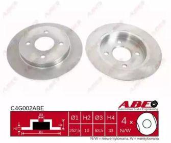 Тормозной диск на Форд Скорпио 'ABE C4G002ABE'.