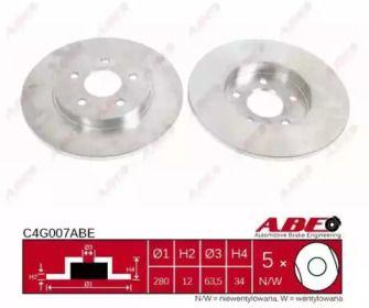 Тормозной диск на Ягуар Х-Тайп 'ABE C4G007ABE'.