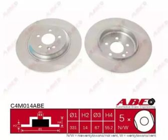Тормозной диск на Мерседес М класс 'ABE C4M014ABE'.