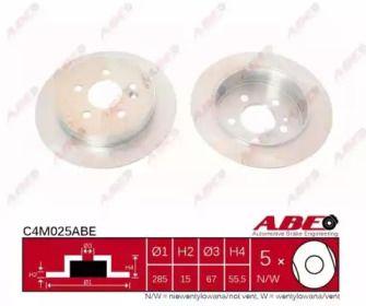 Тормозной диск на Мерседес М класс 'ABE C4M025ABE'.