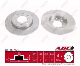 Тормозной диск на PEUGEOT 307 'ABE C4P007ABE'.