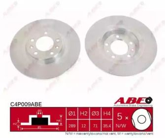 Задний тормозной диск на RENAULT ESPACE 'ABE C4P009ABE'.