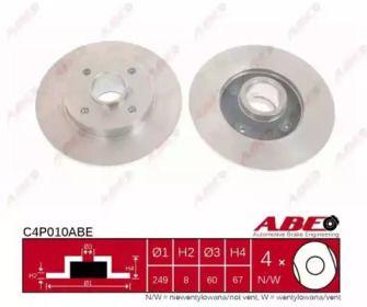 Тормозной диск на Ситроен С4 Пикассо 'ABE C4P010ABE'.