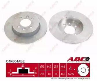 Тормозной диск на RENAULT LAGUNA 'ABE C4R004ABE'.