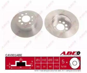 Задний тормозной диск на VOLVO 240 'ABE C4V001ABE'.