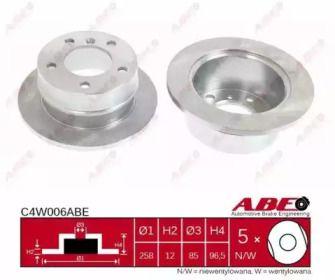 Тормозной диск на Фольксваген Лт 'ABE C4W006ABE'.