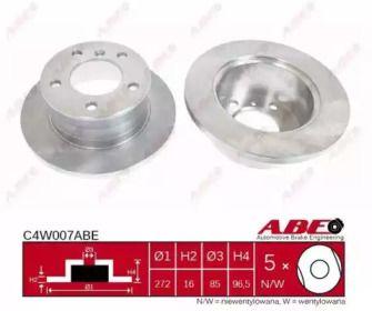 Тормозной диск на Мерседес Спринтер 'ABE C4W007ABE'.