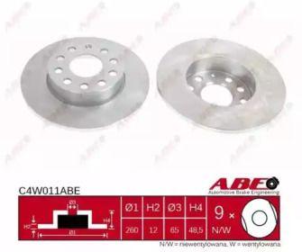 Тормозной диск на VOLKSWAGEN TOURAN 'ABE C4W011ABE'.