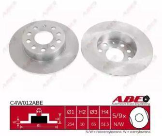 Задний тормозной диск на Сеат Леон 'ABE C4W012ABE'.