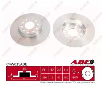 Задний тормозной диск на VOLKSWAGEN PASSAT ALLTRACK 'ABE C4W015ABE'.