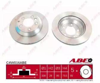 Вентилируемый тормозной диск на Ауди Ку7 'ABE C4W016ABE'.