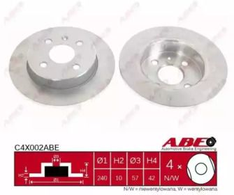 Тормозной диск на Опель Астра 'ABE C4X002ABE'.