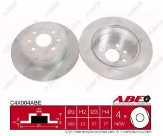 Тормозной диск на Опель Калибра 'ABE C4X004ABE'.