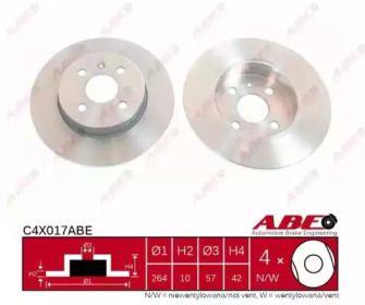 Тормозной диск на OPEL MERIVA 'ABE C4X017ABE'.