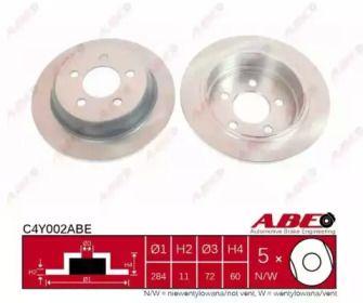 Задний тормозной диск на Джип Гранд Чероки 'ABE C4Y002ABE'.
