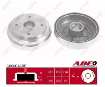 Задний тормозной барабан на DAEWOO TICO 'ABE C60001ABE'.
