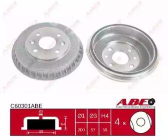 Тормозной барабан на KIA SEPHIA 'ABE C60301ABE'.