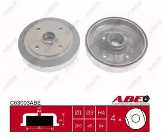 Задний тормозной барабан на MAZDA 323 'ABE C63003ABE'.