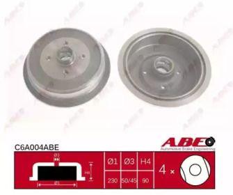 Задний тормозной барабан на Ауди 100 'ABE C6A004ABE'.
