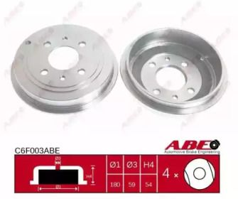 Задний тормозной барабан на FIAT PUNTO 'ABE C6F003ABE'.