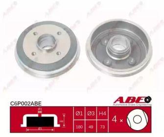 Задний тормозной барабан на PEUGEOT 205 'ABE C6P002ABE'.