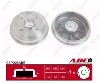 Задний тормозной барабан на PEUGEOT 206 'ABE C6P008ABE'.