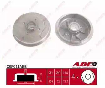 Тормозной барабан на PEUGEOT 206 'ABE C6P011ABE'.