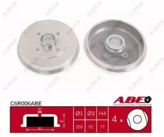 Задний тормозной барабан на Рено Клио 'ABE C6R006ABE'.
