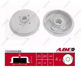 Задний тормозной барабан на VOLKSWAGEN SCIROCCO 'ABE C6W000ABE'.