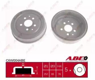 Задний тормозной барабан на VOLKSWAGEN TRANSPORTER 'ABE C6W004ABE'.