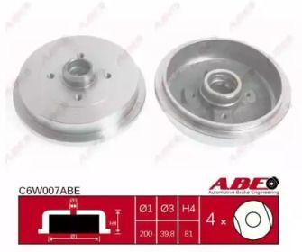 Задний тормозной барабан на SKODA FELICIA 'ABE C6W007ABE'.