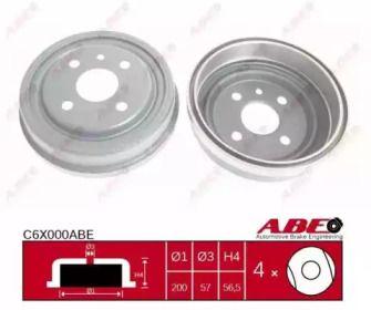 Задний тормозной барабан 'ABE C6X000ABE'.