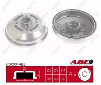 Задний тормозной барабан на OPEL CORSA 'ABE C6X004ABE'.