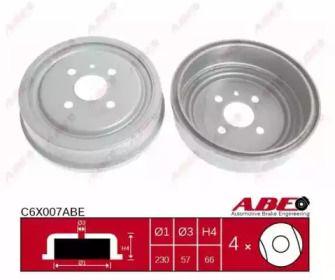 Задний тормозной барабан на OPEL VECTRA 'ABE C6X007ABE'.