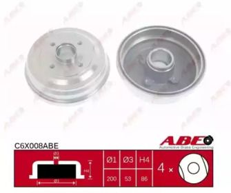 Тормозной барабан на Опель Корса 'ABE C6X008ABE'.