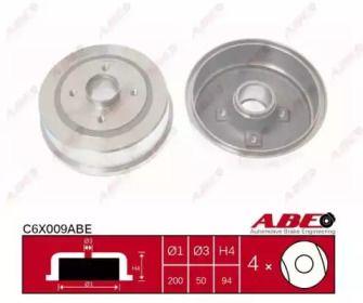 Тормозной барабан на OPEL CORSA 'ABE C6X009ABE'.
