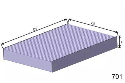 Вугільний фільтр салону 'MISFAT HB141C'.