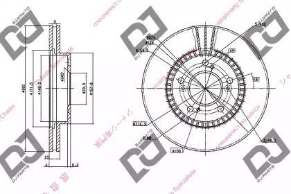 Вентилируемый передний тормозной диск на HONDA HR-V 'DJ PARTS BD1046'.