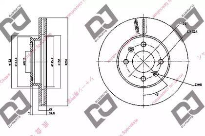 Вентилируемый передний тормозной диск DJ PARTS BD1108.