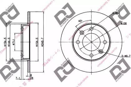 Задний тормозной диск DJ PARTS BD1182.