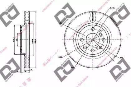Вентилируемый передний тормозной диск DJ PARTS BD1401.