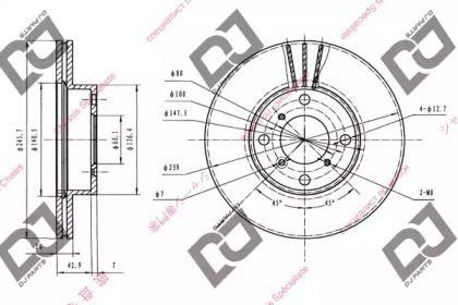 Вентилируемый передний тормозной диск на Сузуки Балено 'DJ PARTS BD1412'.