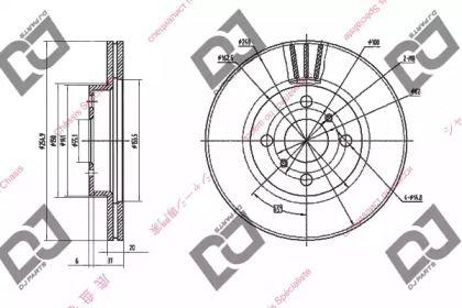 Вентилируемый передний тормозной диск DJ PARTS BD1431.