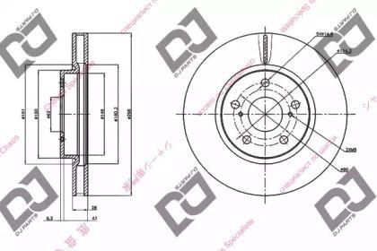 Вентилируемый передний тормозной диск на Тайота Краун 'DJ PARTS BD1461'.