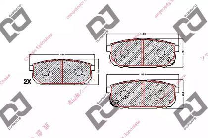 Задние тормозные колодки DJ PARTS BP1593.