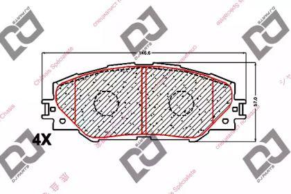 Передние тормозные колодки 'DJ PARTS BP1637'.