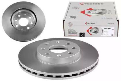 Вентилируемый тормозной диск на Фиат Гранде пунто 'PROTECHNIC PRD2686'.